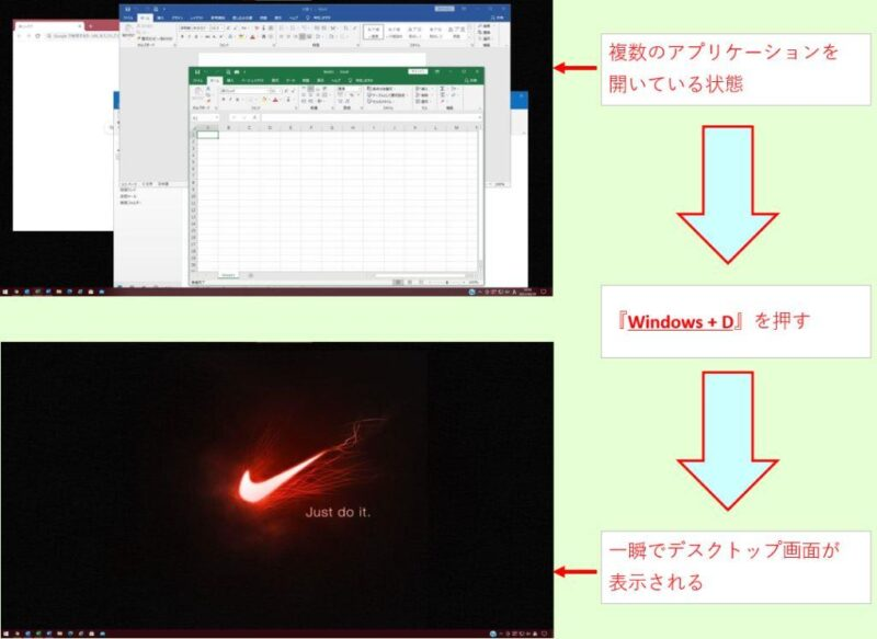 『Windows + D』